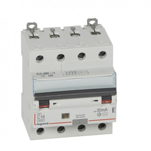 Дифференциальный автомат электромеханический 4P 16A хар-ка C 6kA 30mA тип AC Legrand DX3 (411186)