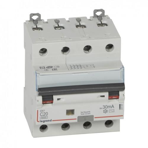 Дифференциальный автомат электромеханический 4P 20A хар-ка C 6kA 30mA тип AC Legrand DX3 (411187)