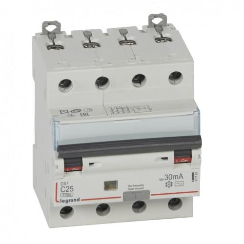 Дифференциальный автомат электромеханический 4P 25A хар-ка C 6kA 30mA тип AC Legrand DX3 (411188)