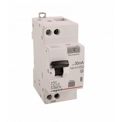 Дифференциальный автомат электронный 1P+N 10A хар-ка C 6kA 30mA тип AC Legrand RX3 (419397)