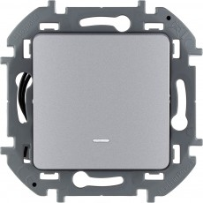Выключатель одноклавишный с подсветкой/индикацией 10 AX 250 В~ алюминий