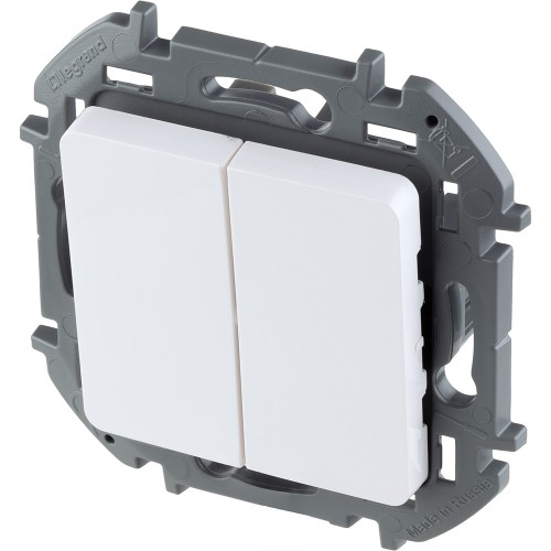 Выключатель двухклавишный 10 AX 250 В~ белый Legrand Inspiria (673620)