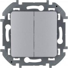 Выключатель двухклавишный 10 AX 250 В~ алюминий