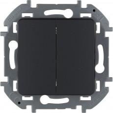 Выключатель двухклавишный 10 AX 250 В~ антрацит 673623 Legrand Inspiria