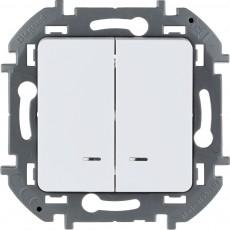 Выключатель двухклавишный с подсветкой/индикацией 10 AX 250 В~ белый