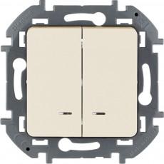 Выключатель двухклавишный с подсветкой/индикацией 10 AX 250 В~ слоновая кость