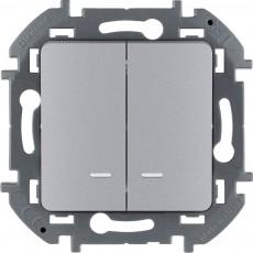Выключатель двухклавишный с подсветкой/индикацией 10 AX 250 В~ алюминий