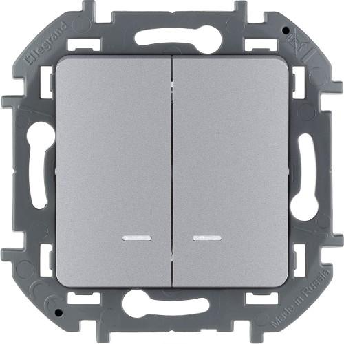 Выключатель двухклавишный с подсветкой/индикацией 10 AX 250 В~ алюминий Legrand Inspiria (673632)