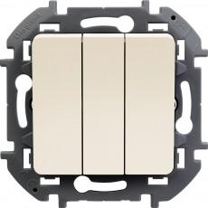 Выключатель трехклавишный 10 AX 250 В~ слоновая кость