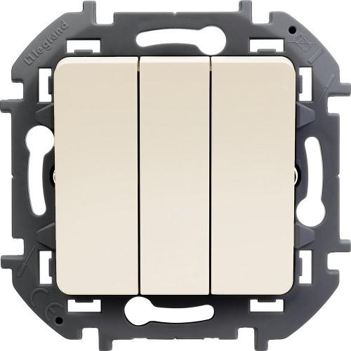 Выключатель трехклавишный 10 AX 250 В~ слоновая кость Legrand Inspiria (673641)
