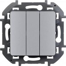 Выключатель трехклавишный 10 AX 250 В~ алюминий