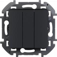 Выключатель трехклавишный 10 AX 250 В~ антрацит