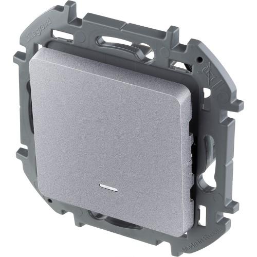 Переключатель одноклавишный с подсветкой/индикацией 10 AX 250 В~ алюминий Legrand Inspiria (673662)