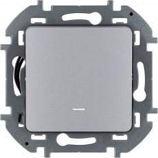 Переключатель одноклавишный с подсветкой/индикацией 10 AX 250 В~ алюминий