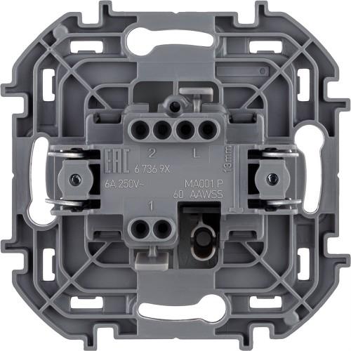 Переключатель без фиксации (кнопка) с Н.О./Н.З. контактом 6 A 250 В~ алюминий Legrand Inspiria (673692)