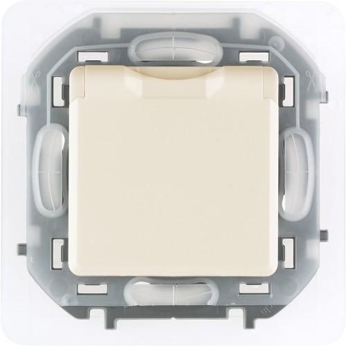 Розетка 2К+З IP 44 с откидной крышкой и шторками немецкий стандарт 16 А 250 В~ слоновая кость Legrand Inspiria (673741)