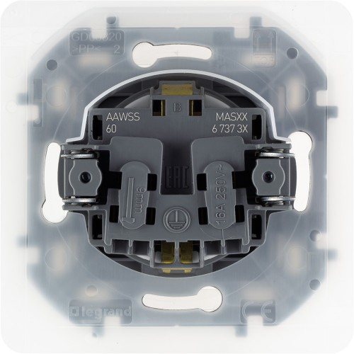 Розетка 2К+З IP 44 с откидной крышкой и шторками немецкий стандарт 16 А 250 В~ алюминий Legrand Inspiria (673742)