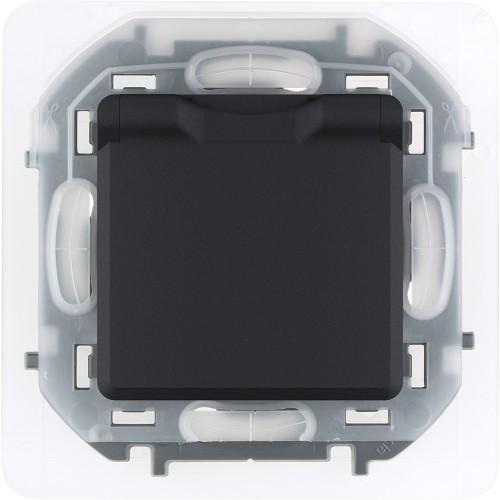 Розетка 2К+З IP 44 с откидной крышкой и шторками немецкий стандарт 16 А 250 В~ антрацит Legrand Inspiria (673743)