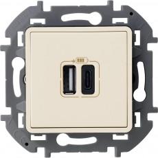 Зарядное устройство с двумя USB-разьемами A-C 240В/5В 3000мА слоновая кость