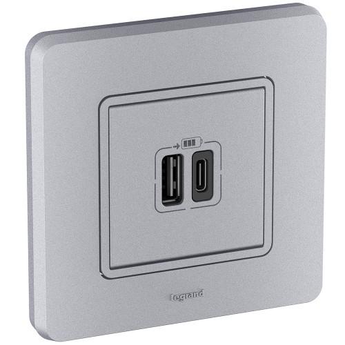 Зарядное устройство с двумя USB-разьемами A-C 240В/5В 3000мА алюминий Legrand Inspiria (673762)