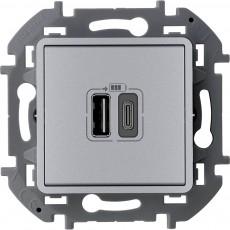 Зарядное устройство с двумя USB-разьемами A-C 240В/5В 3000мА алюминий