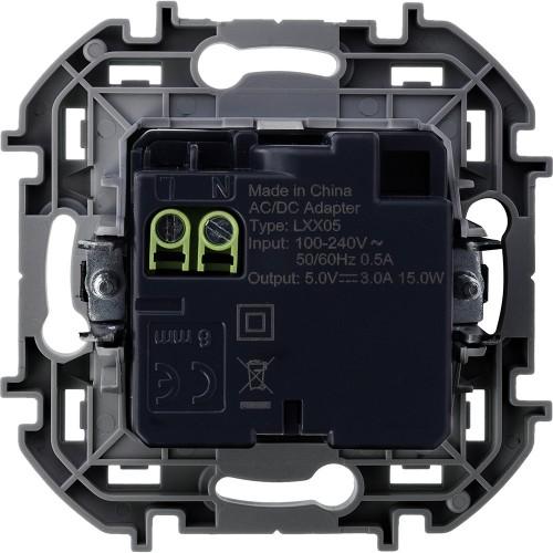 Зарядное устройство с двумя USB-разьемами A-C 240В/5В 3000мА антрацит Legrand Inspiria (673763)