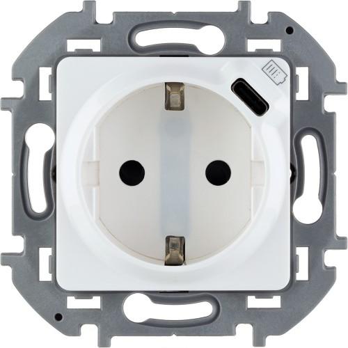 Розетка 2К+З немецкий стандарт 16А 250В со встроенным зарядным устройством USB C 1.5А 5В белый Legrand Inspiria ( 673770)