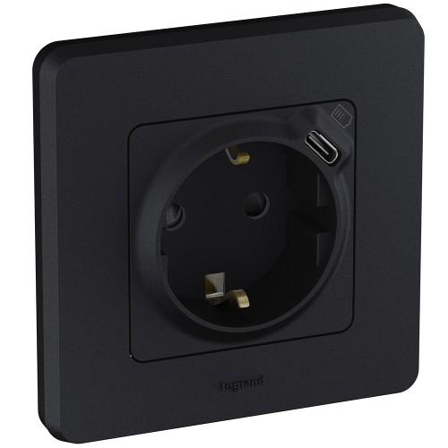 Розетка 2К+З немецкий стандарт 16А 250В со встроенным зарядным устройством USB C 1.5А 5В антрацит Legrand Inspiria (673773)