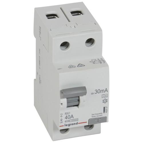 УЗО электромеханическое 2P 40A 10kA 30mA тип A Legrand RX3 (402037)