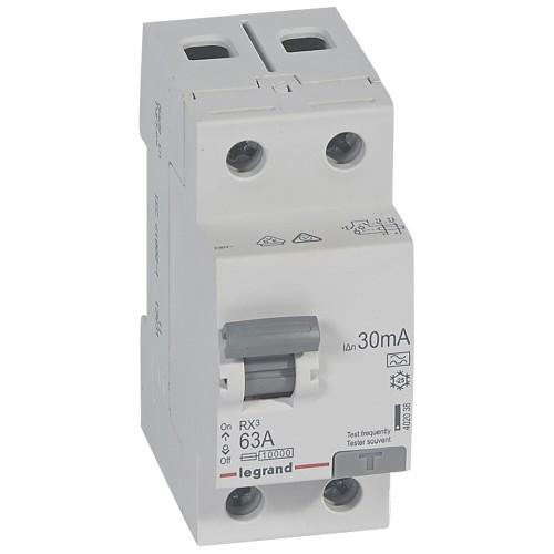 УЗО электромеханическое 2P 63A 10kA 30mA тип A Legrand RX3 (402038)