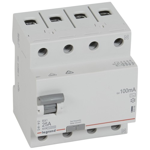 УЗО электромеханическое 4P 25A 10kA 100mA тип AC  Legrand RX3 (402066)