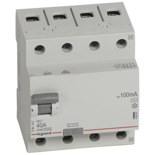 УЗО электромеханическое 4P 40A 10kA 100mA тип AC  Legrand RX3 (402067)