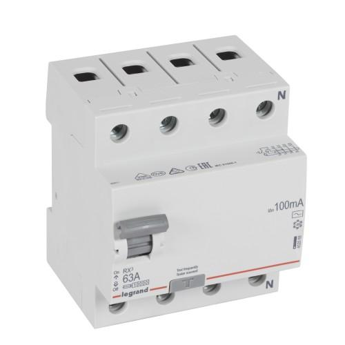 УЗО электромеханическое 4P 63A 10kA 100mA тип AC  Legrand RX3 (402068)