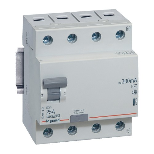 УЗО электромеханическое 4P 25A 10kA 300mA тип AC  Legrand RX3 (402070)