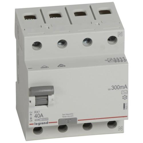 УЗО электромеханическое 4P 40A 10kA 300mA тип AC  Legrand RX3 (402071)