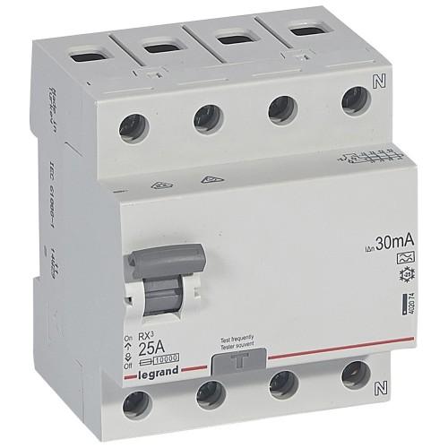 УЗО электромеханическое 4P 25A 10kA 30mA тип A  Legrand RX3 (402074)