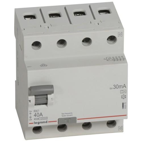 УЗО электромеханическое 4P 40A 10kA 30mA тип A  Legrand RX3 (402075)