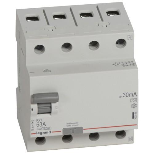 УЗО электромеханическое 4P 63A 10kA 30mA тип A  Legrand RX3 (402076)