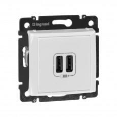 Розетка с 2-мя коннекторами USB, белая