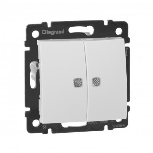 Выключатель двухклавишный с подсветкой (белый) Legrand Valena Classic (774428)