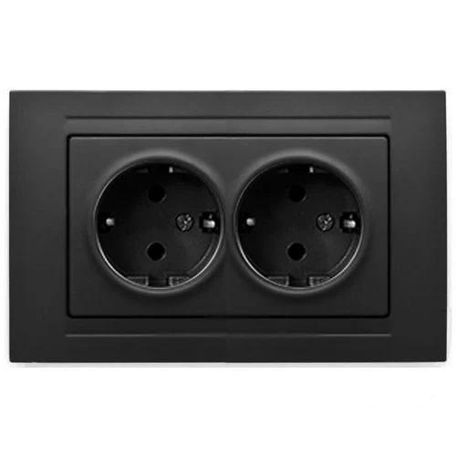 Двойная розетка черная с/з Gunsan Moderna (01 29 34 00 100 150)