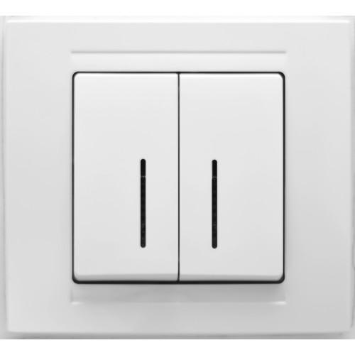 Выключатель 2-кл с индикацией (без рамки) белый Gunsan Moderna (01 29 11 00 150 104)