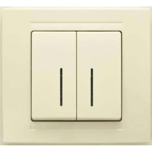 Выключатель 2-кл с индикацией (без рамки) кремовый Gunsan Moderna (01 29 12 00 150 104)