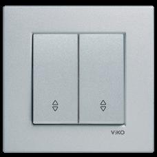 Выключатель 2-кл проходной (без рамки) серебро