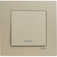 Выключатель 1-кл с индикацией (без рамки) бронза