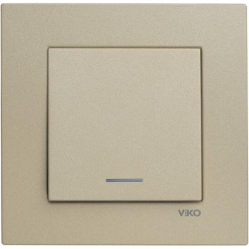 Выключатель 1-кл с индикацией (без рамки) бронза Viko Novella (92105219)
