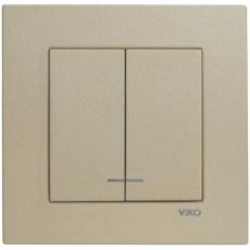 Выключатель 2-кл с индикацией (без рамки) бронза