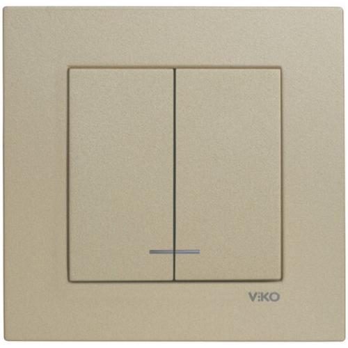 Выключатель 2-кл с индикацией (без рамки) бронза Viko Novella (92105250)