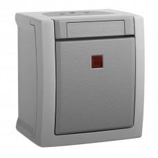 Выключатель 1-кл с индикацией серый наружный