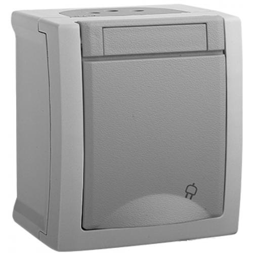 Розетка с/з серая  наружный Panasonic Pacific (WPTC42122GR-BY)